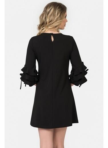 İroni Kolları Volanlı Mini Elbise Siyah